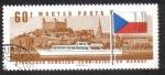 Stamps Hungary -  Comisión del Danubio, Hidrobús diésel, Castillo de Bratislava, Bandera checoslovaca