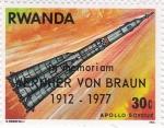 Sellos de Africa - Rwanda -  Aeronáutica Apolo-Soyouz en memória Wernher Von Braun