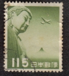Sellos del Mundo : Asia : Japón : Correo aéreo, Gran Buda de Kamakura - Verde oliva
