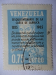 Stamps of the world : Venezuela :  Sesquicentenario de la Carta de Jamaica 1815-1965
