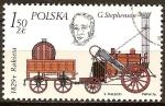 Stamps Europe - Poland -  George Stephenson y su locomotora