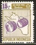 Sellos de Asia - Indonesia -  INSTRUMENTO  MUSICAL  TAMBORES  E  ISLA  NIAS