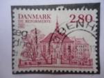 Sellos de America - Dinamarca -  De Reformerte- 300° Aniversario (1685-1985) Iglesia Reformada- Gothersgade-Copenhague - Iglesia refo