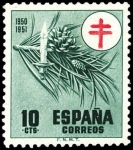 Stamps Spain -  ESPAÑA SEGUNDO CENTENARIO Nº 1085 ** 10C VERDE CRUZ DE LORENA