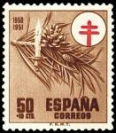 Stamps Spain -  ESPAÑA SEGUNDO CENTENARIO Nº 1086 ** 50C*10C CASTAÑO CRUZ DE LORENA