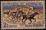 sellos de Africa - Senegal -  Course de Chevaux