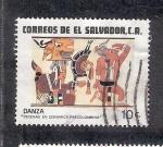 Stamps of the world : El Salvador :  Arqueología: Escenas en cerámica precolombina, danza