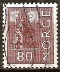 Sellos del Mundo : Europa : Noruega : Duela (de madera) Iglesia y Aurora Borealis.