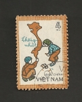 Sellos de Asia - Vietnam -  Niños dibujando mapa Vietnam unificado