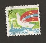 Sellos de Asia - Vietnam -  Amistad con Laos y Camboya