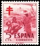 Stamps Spain -  ESPAÑA SEGUNDO CENTENARIO Nº 1103 ** 5 C CARMIN OSCUROPRO TUBERCULOSOS