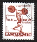 Stamps of the world : Hungary :  Halterofilia CAMPEONATOS DEL MUNDO Y EUROPA