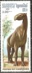 Stamps Cambodia -  ANIMALES  PREHISTÒRICOS.  INDRICOTHERIUM