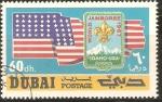 Sellos de Asia - Emiratos Árabes Unidos -  WORLD  BOY  SCOUT  JAMBOREE.  BANDERA  DE  LOS  ESTADOS  UNIDOS  Y  FLOR  DE  LIZ.