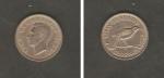 monedas de Oceania - Nueva Zelanda -  Rey George VI, y pájaro