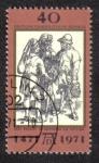 Sellos del Mundo : Europa : Alemania : Tres Agricultores Hablando, 500. cumpleaños del pintor Alberto Durero ( 1471-1528 )