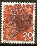 Sellos del Mundo : Europa : Suiza : Ciervo (Cervus elaphus).