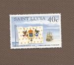 sellos de America - Santa Lucía -  Bandera Imperial y Navío de 74 cañones (Francia)