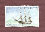 Sellos del Mundo : America : Santa_Lucía : Navío Inglés en combate HMS Thunderer