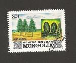 Sellos de Asia - Mongolia -  Pinos siberianos