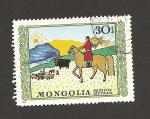 Sellos de Asia - Mongolia -  Pastoreo