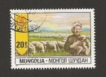 Stamps Mongolia -  Pastora con rebaño ovejas