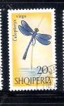 Sellos del Mundo : Europa : Albania : Libélula (Calopteryx virgo)