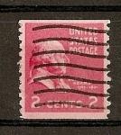 Stamps United States -  J. Adams./ Papel tintado./ Dentado 10 verticalmente.