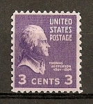 Stamps United States -  T. Jefferson./ Papel tintado.