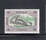 Sellos de Africa - Liberia -  Cocodrilo