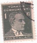 Stamps Turkey -  Presidente Mustafa Kemal Atatürk