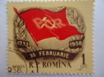 Stamps Romania -  Bandera del Partido Cumunista 1933-1958-R.P.Romina.