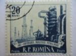 Sellos de America - Rumania -  Centenario industria Petrolífera- Refinería-Torres de Taladros.