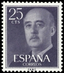 Stamps Spain -  ESPAÑA SEGUNDO CNTENARIO Nº 1146 ** 25C VIOLETA NEGRO FRANCO
