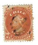 """Stamps : America : Chile :  """"Colón"""": Primera Emisión Dentada - 1867"""