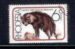 Sellos de Africa - Zimbabwe -  Especies vulnerables de la vida salvaje: Hiena parda