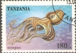 Sellos de Africa - Tanzania -  VIDA  MARINA.  PULPO.