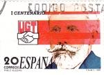 Stamps Spain -  I CENTENARIO DE LA UGT- PABLO IGLESIAS  (9)