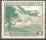 Sellos de America - Chile -  AEROPLANO  Y  PINO  ARAUCANO