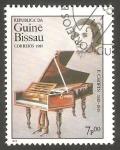 Sellos de Africa - Guinea Bissau -  Chopin y piano