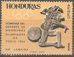 Sellos de America - Honduras -  JUEGOS  OLÌMPICOS  TOKIO.  JUEGO  DE  PELOTA  MAYA.