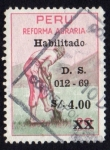 Stamps of the world : Peru :  1969 Reforma Agraria. Cultivador - Ybert:498