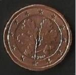 monedas de Europa - Alemania -  MONEDA UN EURO CENT - POSTERIOR