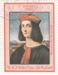 Stamps Cuba -  Retrato de un joven- 500 Aniversario nacimiento de Rafael