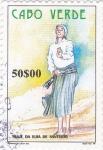 Sellos de Africa - Cabo Verde -  Traje de la isla de santiago