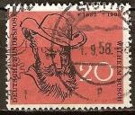 Sellos de Europa - Alemania -  50 Aniv de Wilhelm Busch, 1832-1908, escritor alemán, pintor y dibujante.