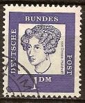 Sellos del Mundo : Europa : Alemania : Annette von Droste-Hulshoff (1797-1848),poeta.