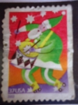 Stamps United States -  santa Claus with drums (Papá noel con tambor)