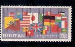 Sellos de Asia - Bhután -  Banderas a media asta