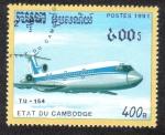 Sellos de Asia - Camboya -  Aviakor TU-154